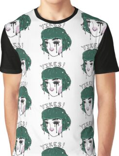 Yikes! Cute Green Hair Pixel Girl Graphic T-Shirt