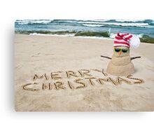 Tropical Christmas Snowman Canvas Print