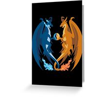 Mega Charizard X and Y: Sillhouettes Greeting Card