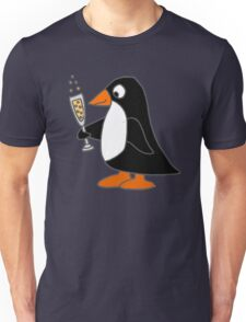 Cute Funky Penguin Drinking Glass of Champagne  Unisex T-Shirt