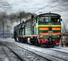 Train on the road by Iskanders