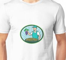 Farm Boy Holding Grapes Bowl Raisins Oval Retro Unisex T-Shirt