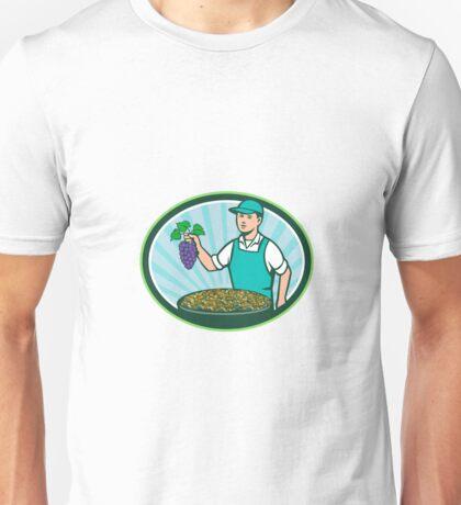 Farm Boy Holding Grapes Bowl Raisins Oval Retro Unisex T-Shirt