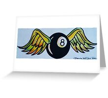 Flying Eight Ball Greeting Card