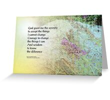 Serenity Prayer Boulder and Butterfly Bush Greeting Card