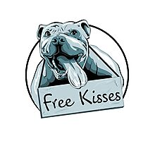 Cute Pit Bull Shirt-Free Kisses Photographic Print