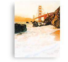 Golden Gate Bridge in Watercolor Canvas Print