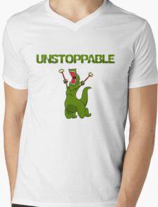 Unstopable T-rex Mens V-Neck T-Shirt