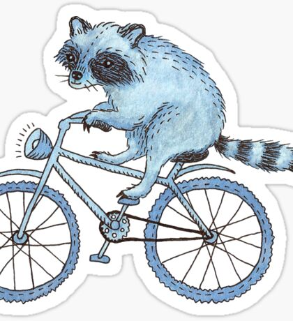 Raccoon on a Bicycle  Sticker