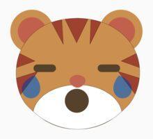 Tiger Emoji Teary Eyes and Sad Look Kids Tee