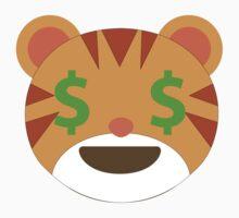 Tiger Emoji Money Face Kids Tee