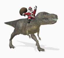 Santa Claus Riding A Trex Kids Tee