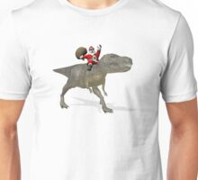 Santa Claus Riding A Trex Unisex T-Shirt