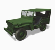 Green Willys MB Jeep Kids Tee
