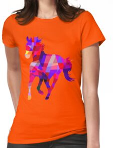 Geometric Cool Horse Colorful Design Womens Fitted T-Shirt