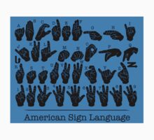 American Sign Language Chart - Blue version Kids Tee