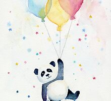 Panda floating with Balloons by OlechkaDesign