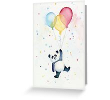 Panda floating with Balloons Greeting Card
