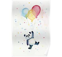 Panda floating with Balloons Poster