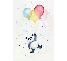 Panda floating with Balloons Photographic Print