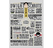 The Wise Words of Dwight Schrute (Dark Tee) Photographic Print