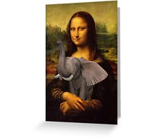 Mona Lisa With Elephant Greeting Card