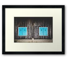 Country Wood Wall and Blue Windows Framed Print