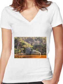 Tidal River Sunrise Women's Fitted V-Neck T-Shirt