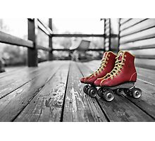 Cool Red Roller Skates Photographic Print