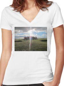 Stonehenge  Women's Fitted V-Neck T-Shirt