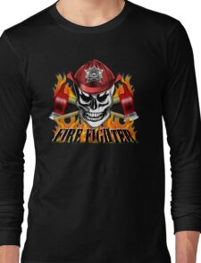 Firefighter Skull 4 Long Sleeve T-Shirt