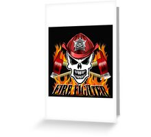 Fire Fighter Skull 2 Greeting Card