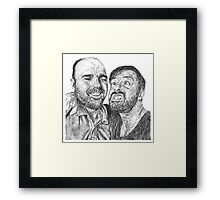 Karl Pilkington & Ricky Gervais - the world need more of em!! Framed Print