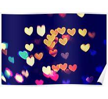 Colorful Hearts Bokeh Vintage Blue Yellow Orange I Poster