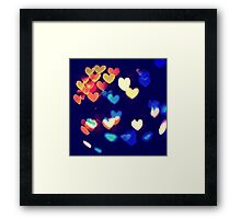 Colorful Hearts Bokeh Vintage Blue Yellow Orange III Framed Print