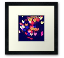 Colorful Hearts Bokeh Vintage Blue Yellow Orange V Framed Print