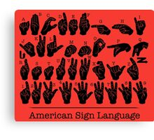 American Sign Language Chart - Red version Canvas Print