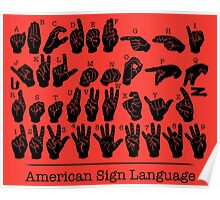 American Sign Language Chart - Red version Poster