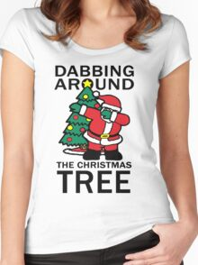 Dabbing Around The Christmas Tree Funny Women's Fitted Scoop T-Shirt