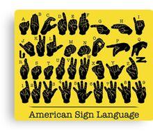 American Sign Language Chart - Yellow version Canvas Print