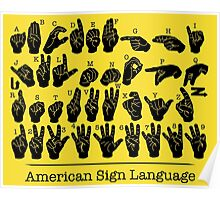 American Sign Language Chart - Yellow version Poster