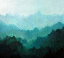 Mists no. 2 - Mountain painting by Prelude Posters by preludeposters
