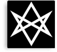 Hexagram   Magic Symbol   Letters of Men   Supernatural Print on Black Canvas Print