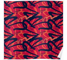 red navy hipster pattern Poster