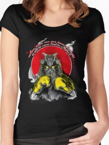 Samurai Boxing Fighter Women's Fitted Scoop T-Shirt