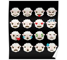 Sheep Emoji Different Facial Expressions Poster