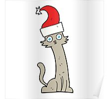 cartoon cat in christmas hat Poster