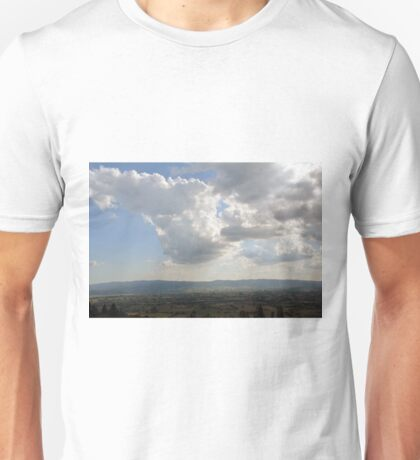 The cloudy sky over the hills of Assisi, Italy Unisex T-Shirt