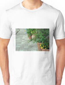 Plants in flower pots on the pavement Unisex T-Shirt
