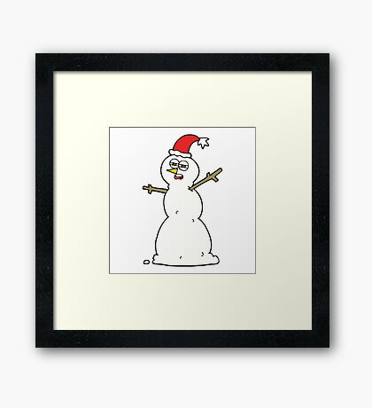cartoon unhappy snowman Framed Print